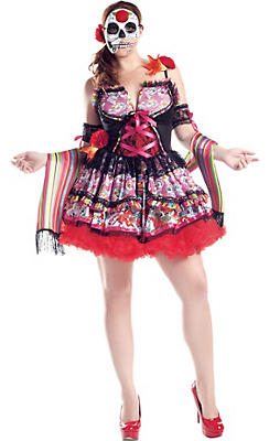 Adult Exuberante Day of the Dead Costume Plus Size