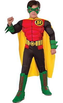 Boys Robin Muscle Costume - Batman Comic Book