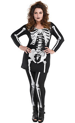 Adult Bare Bone Skeleton Costume Plus Size
