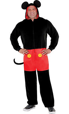 Adult Zipster Mickey Mouse One Piece Costume Plus Size