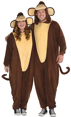 Adult Zipster Monkey One Piece Costume Plus Size