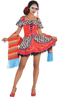 Adult Senorita Sugar Skull Costume