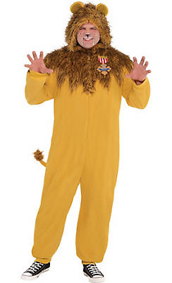 Adult Zipster Cowardly Lion One Piece Costume Plus Size - The Wizard of Oz