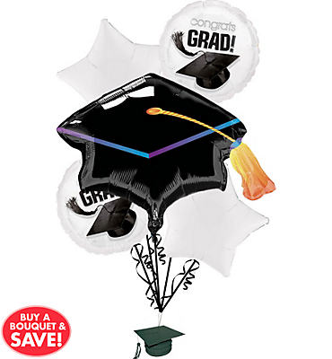 Foil White Graduation Balloon Bouquet 5pc