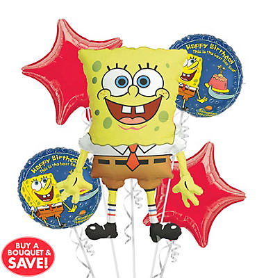 SpongeBob Balloon Bouquet 5pc - Deluxe