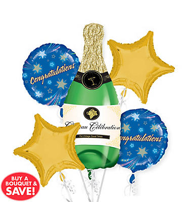 Foil Champagne Balloon Bouquet 5pc