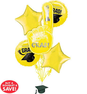 Foil Yellow #1 Grad Graduation Balloon Bouquet 5pc