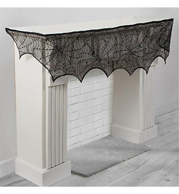 Black Lace Cobweb Mantel Scarf