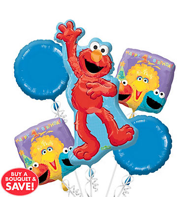 Sesame Steet 1st Birthday Balloon Bouquet 5pc