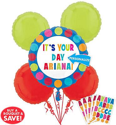Personalized Balloon Bouquet 5pc - Cabana Polka Dot