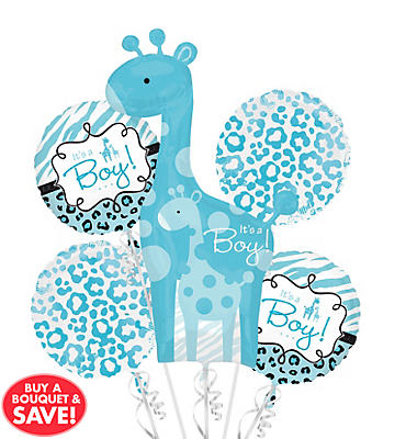 baby shower balloon bouquet 5pc blue safari