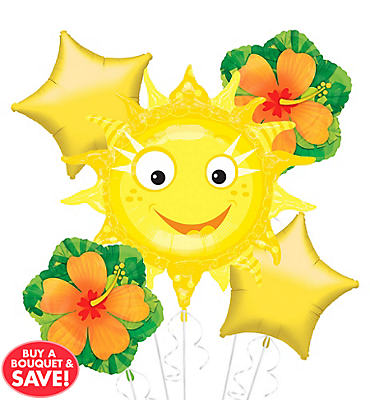 Foil Smiling Sun Balloon Bouquet 5pc