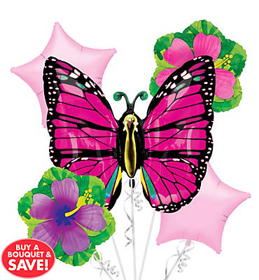 Foil Pink Butterfly Balloon Bouquet 5pc
