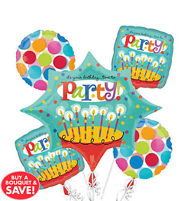 Perfect Time to Party Balloon Bouquet 5pc