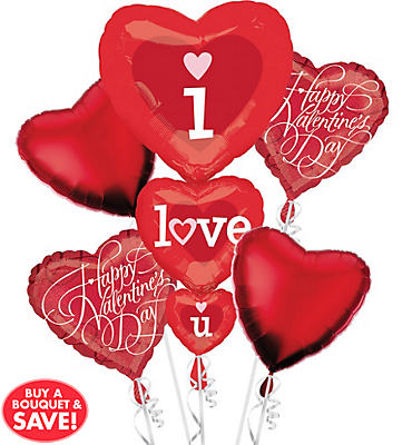 Foil Stacker I Love You Valentines Day Balloon Bouquet 5pc