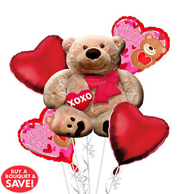 Foil Cuddly Bear Valentines Day Balloon Bouquet 5pc
