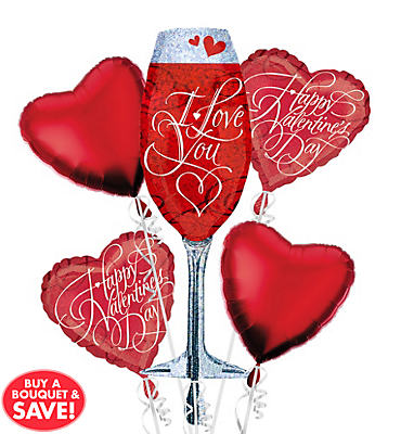 Holographic Love You Champagne Glass Valentines Day Balloon Bouquet 5pc