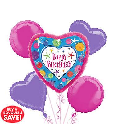 Happy Birthday Balloon Bouquet 5pc - Boa Heart