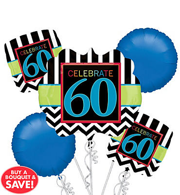 Celebrate 60th Birthday Balloon Bouquet 5pc
