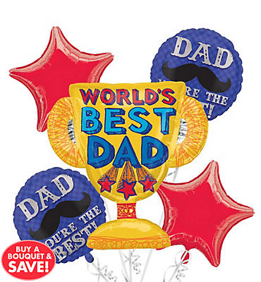 World's Best Dad Balloon Bouquet 5pc