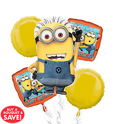 Despicable Me Minion Birthday Balloon Bouquet 5pc
