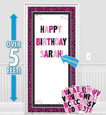Customizable Black & Pink Door Decorating Kit
