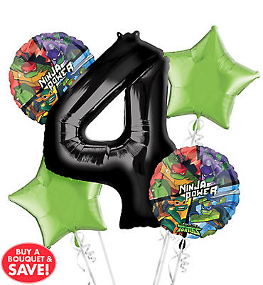 Teenage Mutant Ninja Turtles 4th Birthday Balloon Bouquet 5pc