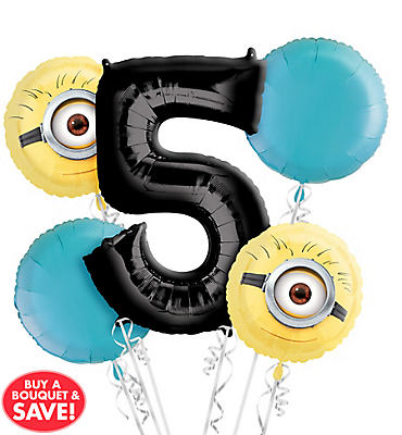 Despicable Me 5th Birthday Balloon Bouquet 5pc