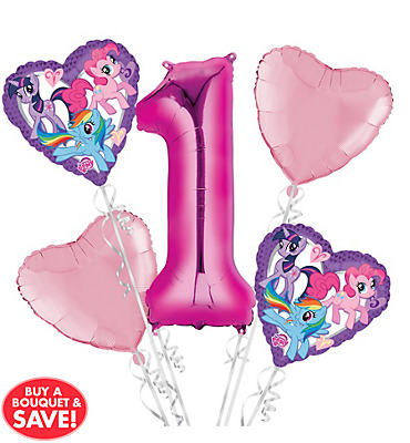 My Little Pony 1st Birthday Balloon Bouquet 5pc