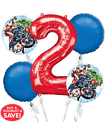 Avengers 2nd Birthday Balloon Bouquet 5pc