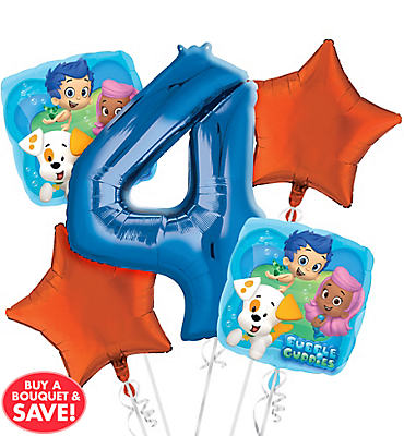 Bubble Guppies 4th Birthday Balloon Bouquet 5pc