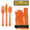 Orange Premium Plastic Cutlery Set 24ct