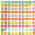 Colorful Gingham Square Dinner Plates 8ct