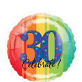A Year to Celebrate 30th Birthday Foil Balloon 18in