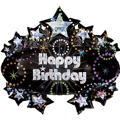 Foil A Time to Party Prismatic Marquee Happy Birthday Balloon 31in