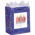 Playful Menorah Medium Glitter Gift Bag 9 1/2in x 8in