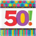 50th Birthday Dots & Stripes Dinner Plates 8ct