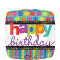 Foil Dots & Stripes Happy Birthday Balloon 18in