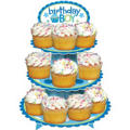 Blue Sweet Little Cupcake 1st Birthday Cupcake Stand