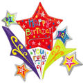 Foil Birthday Stars Balloon 32in x 35in