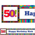 Birthday Dots & Stripes 50 Custom Banner 6ft