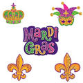 Mini Glitter Mardi Gras Cutouts 7in 10ct