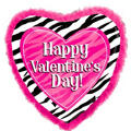 Valentines Day Zebra Print Balloon with Feathers Foil