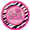 Foil Embellished Zebra Party Graduation Balloon