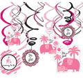 Pink Safari Baby Shower Swirl Decorations 12ct