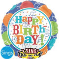 Foil Birthday Fever Happy Birthday Singing Balloon 28in