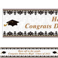 Custom Black & White Graduation Banner 6ft