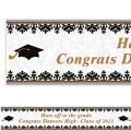 Custom Black & White Graduation Banner 6ft