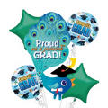 Foil Proud As A Peacock Graduation Balloon Bouquet 5pc