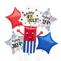 Patriotic Firecracker Shaped Balloon Bouquet 5pc